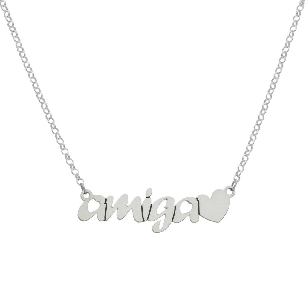 Gargantilla amiga + corazon plata 925mm