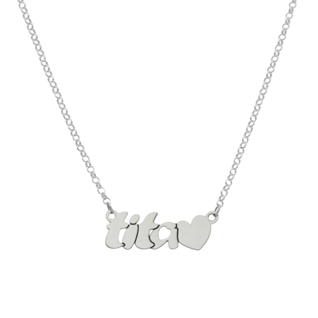 Gargantilla tita + corazon plata 925mm