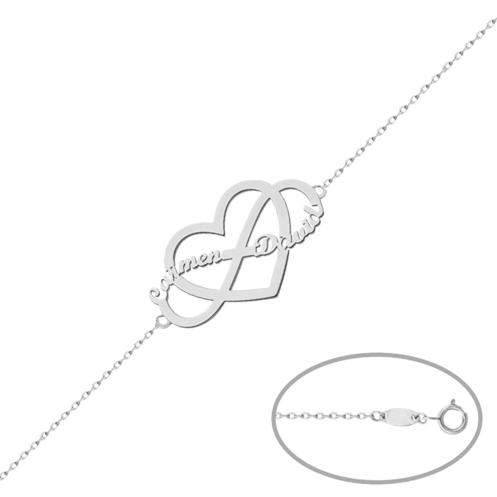 Pulsera infinito + corazon plata 925mm