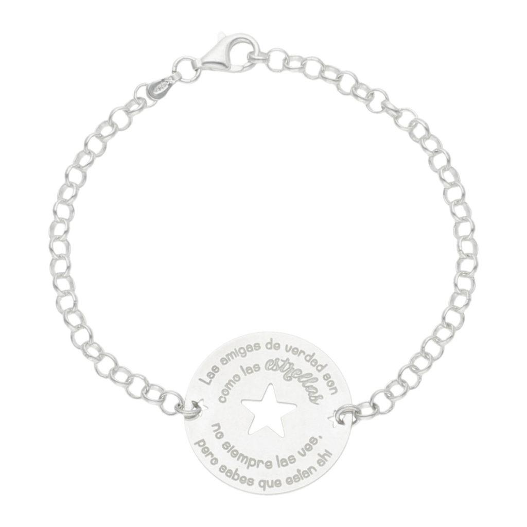 Pulsera amigas estrella + frase plata 925mm