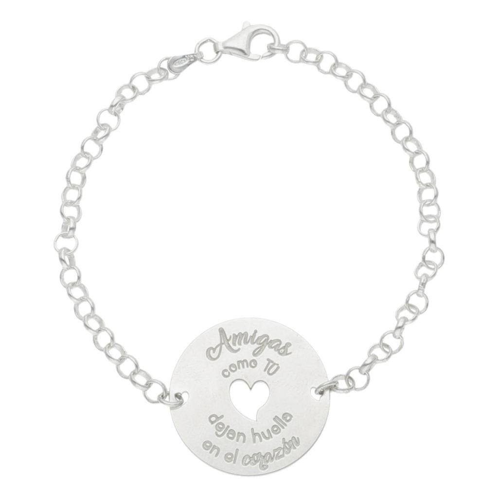Pulsera amigas corazon + frase plata 925mm