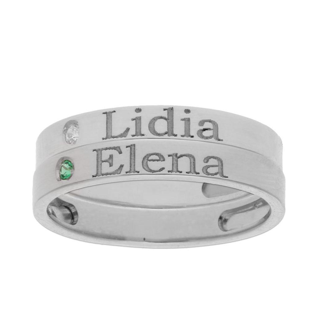 2 anillos personalizados nombre plata 925mm