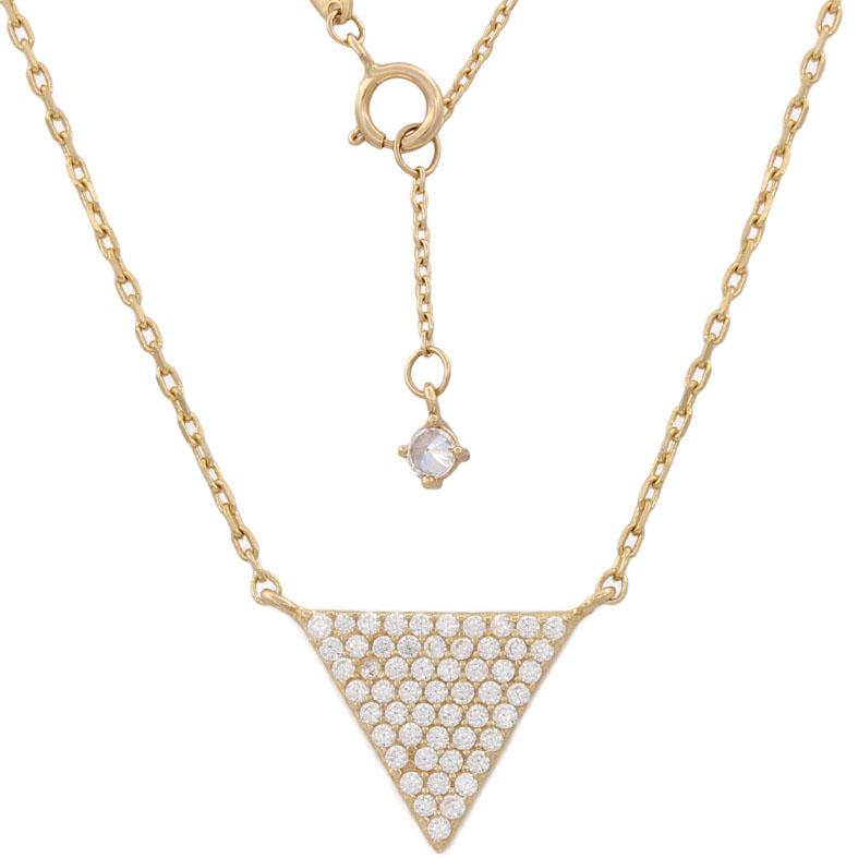 Gargantilla triangulo oro18kl circonitas